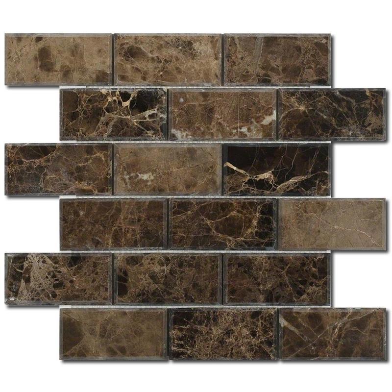 Emperador Dark 2x4 Brick Polished Marble  Mosaic
