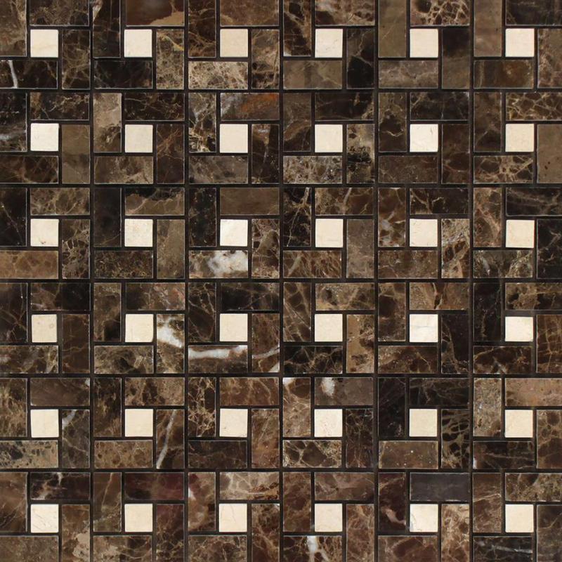 Emperador Dark 1x2 Pinwheel Polished Marble  Mosaic