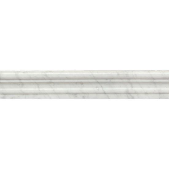 White Carrara Marble Trim 2x12 Polished   0.69 in Chair Rail