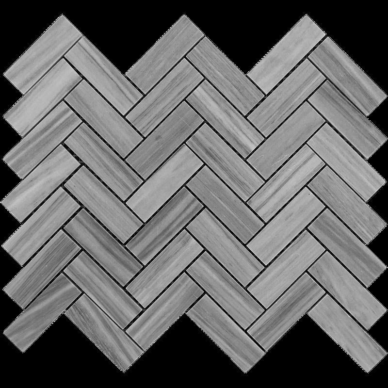 Marble Bardiglio 1x3 Herringbone Polished   Mosaic