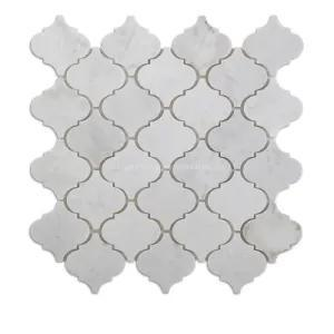Marble Oriental White 3 in Arabesque Polished   Mosaic
