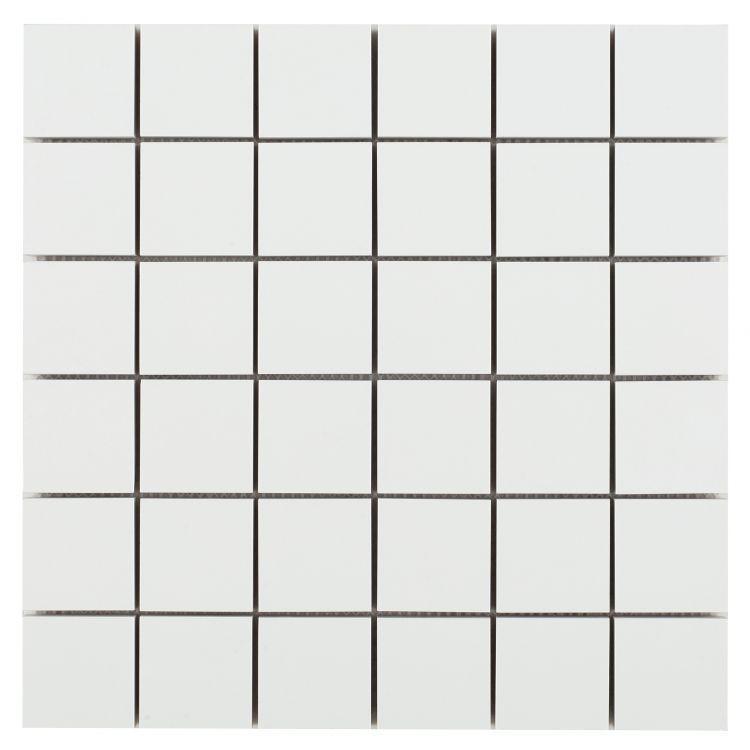 White Tile Royal 2x2 Square Matte Porcelain  Mosaic