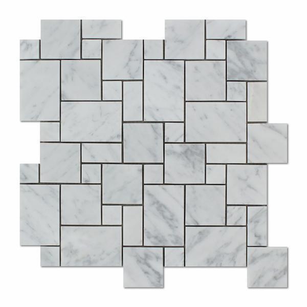 Marble White Carrara Mini Honed   Mosaic