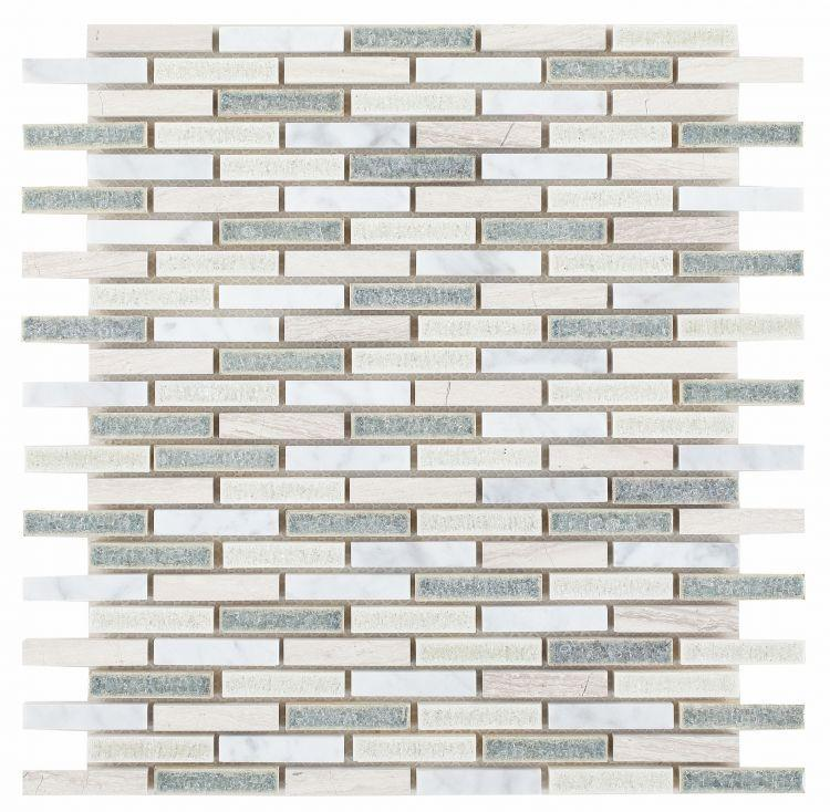 Jewel Swiss Blue Slim Brick  Glass  Mosaic