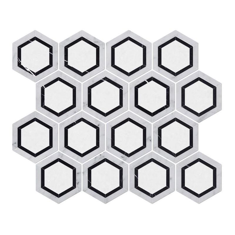 Marble Thassos White W Black 5 in Hexagon Honed   Mosaic