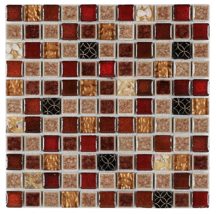 Jewel Swiss Red Square  Glass  Mosaic