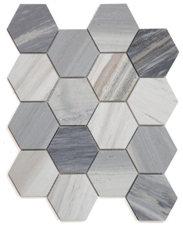 Hexagon Italian Blue 3x3  Honed Marble  Mosaic