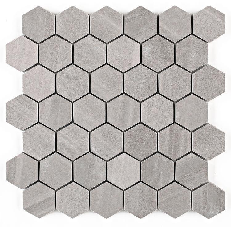Sand Stone Light Grey 2x2 Hexagon  Porcelain  Mosaic