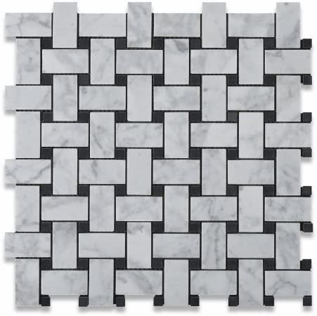 Carrara White 1x2 Basketweave W/ Black Dots Honed Marble  Mosaic