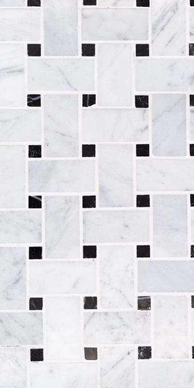 Sto Re Carrara 1x2 Basketweave W/ Black Dots Polished Natural Stone  Mosaic