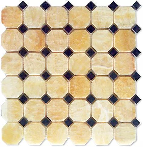 Stone Mosaic Honey Onyx 1-7/8 in Octagon With Dot