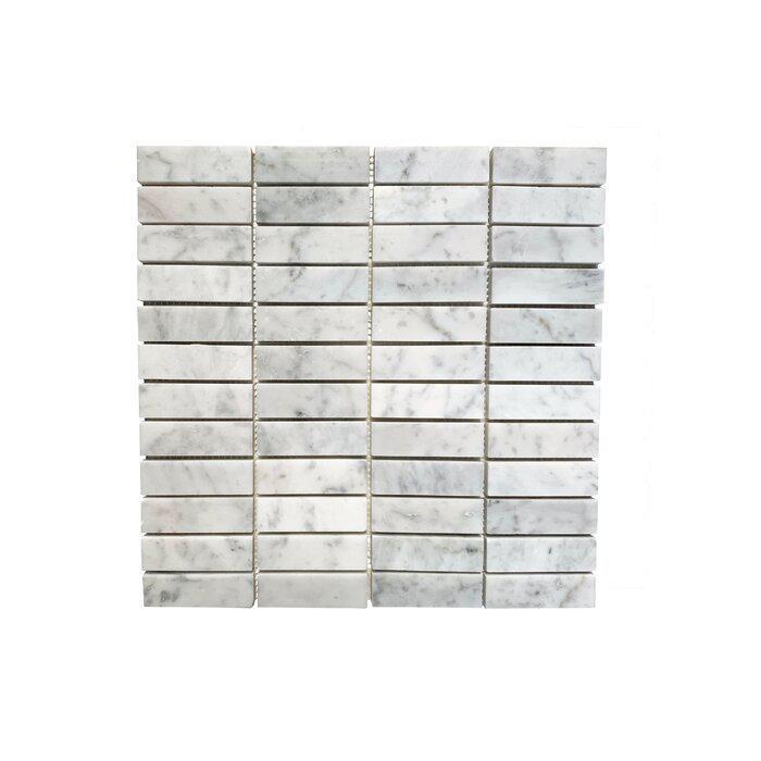 Stone Mosaic Carrara 1x3 Straight Joint Polished Marble