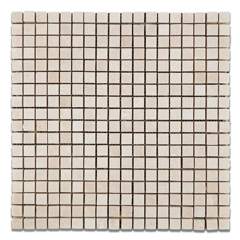 Marble Botticino Turkish 0.63x0.63 Square Tumbled   Mosaic (Discontinued)