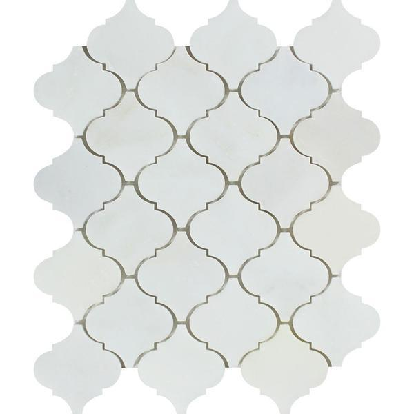 Marble Oriental White 4 in Arabesque Polished   Mosaic