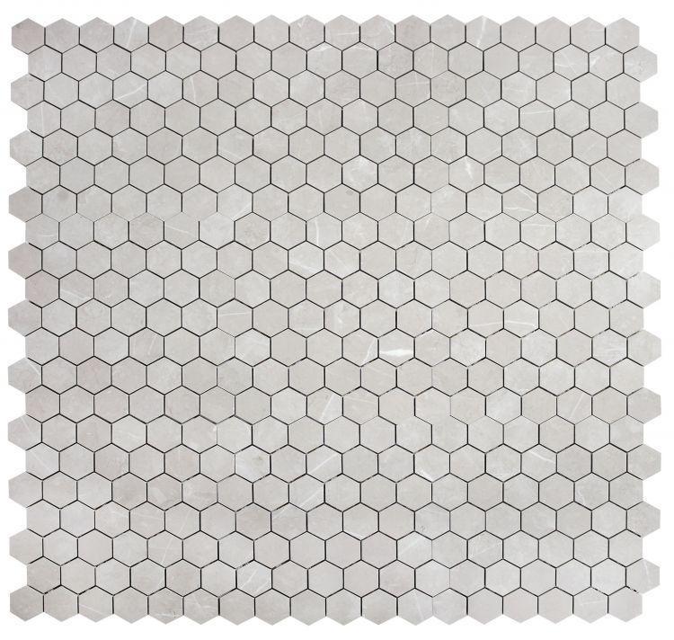 Lava Silver Grey 2x2 Hexagon Glazed, Matte Porcelain  Mosaic
