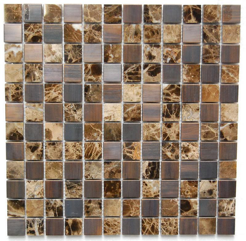 Stainless Steel Mosaics Indus Hb Ygt001-14 Mirror Emp Dark 1x1 Square Polished   Mosaic (Discontinued)