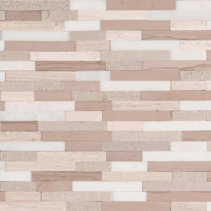 Backsplash Wall Tile Decorative Mosaics Arctic Storm Honed, Light Grey, Interlocking, Marble, Mosaic