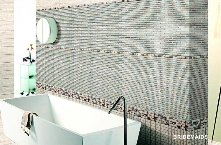 Jewel Bridesmaids 1/2x2 Linear  Glass  Mosaic