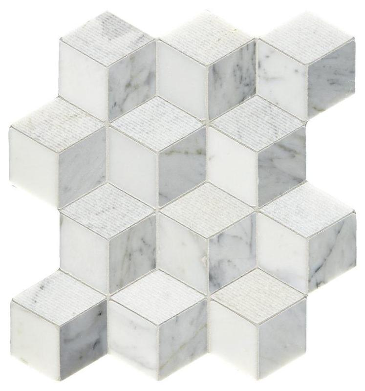 Marble White Carrara Groved W Thassos 3d Grooved   Mosaic
