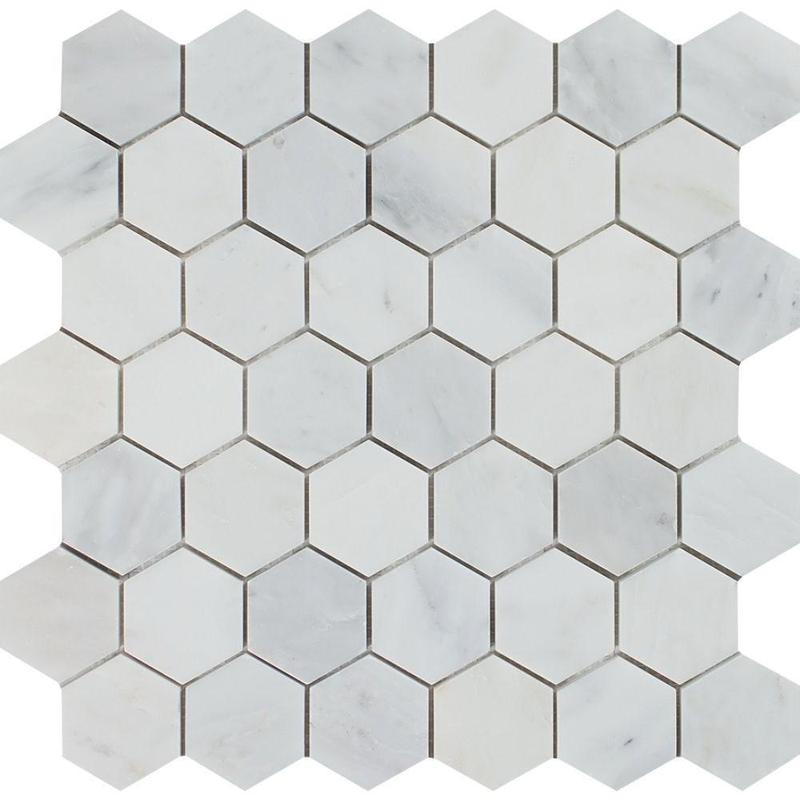 Marble Oriental White 2 in Hexagon Polished   Mosaic