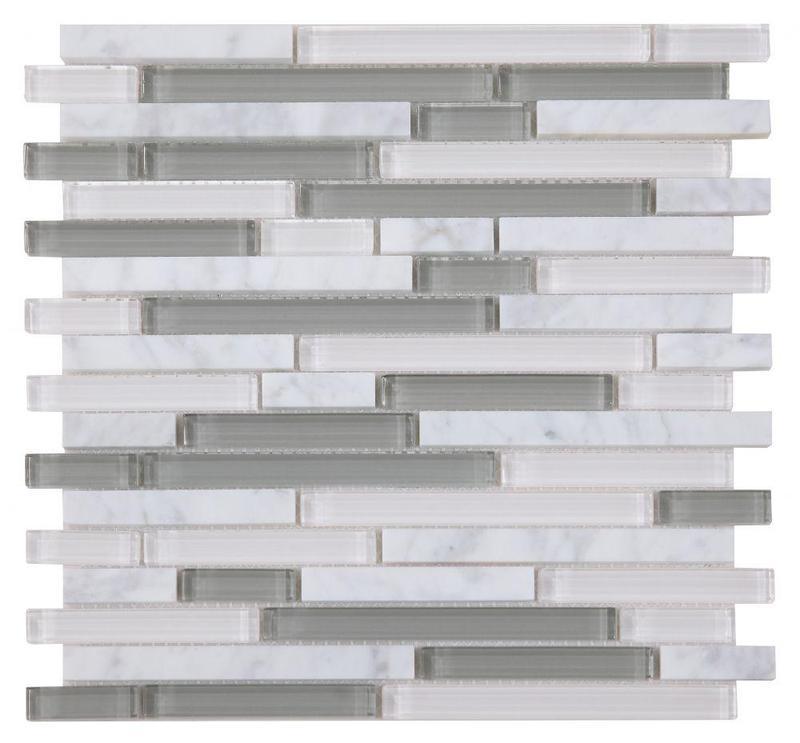 Linear Glass Carrara Grey Mosaic