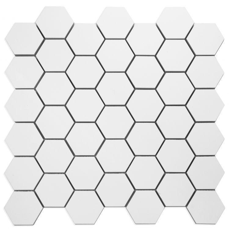 White Tile Royal 2x2 Hexagon Matte Porcelain  Mosaic
