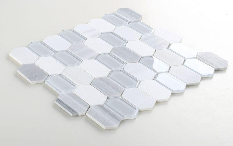 Elongated Hex Montage Light Elongated Hexagon  Glass  Mosaic