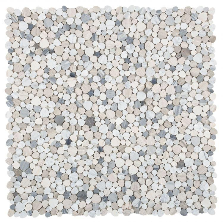 Aphrodite Blue Pebble Polished Marble  Mosaic