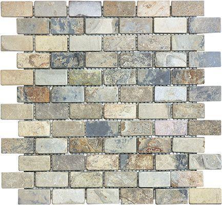 Slate Indian Autumn 1x2 Brick Tumbled   Mosaic