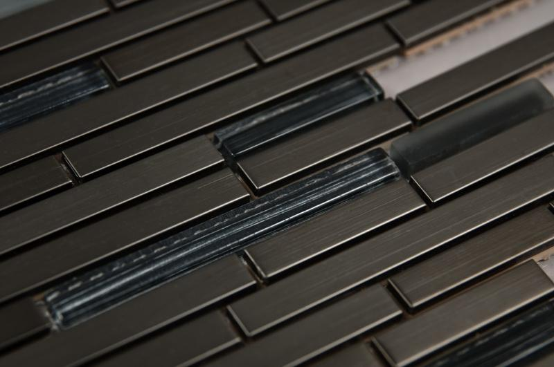 Stainless Steel Mosaics Draco Hb Ygg009-2 Glass Mix Linear Polished   Mosaic (Discontinued)