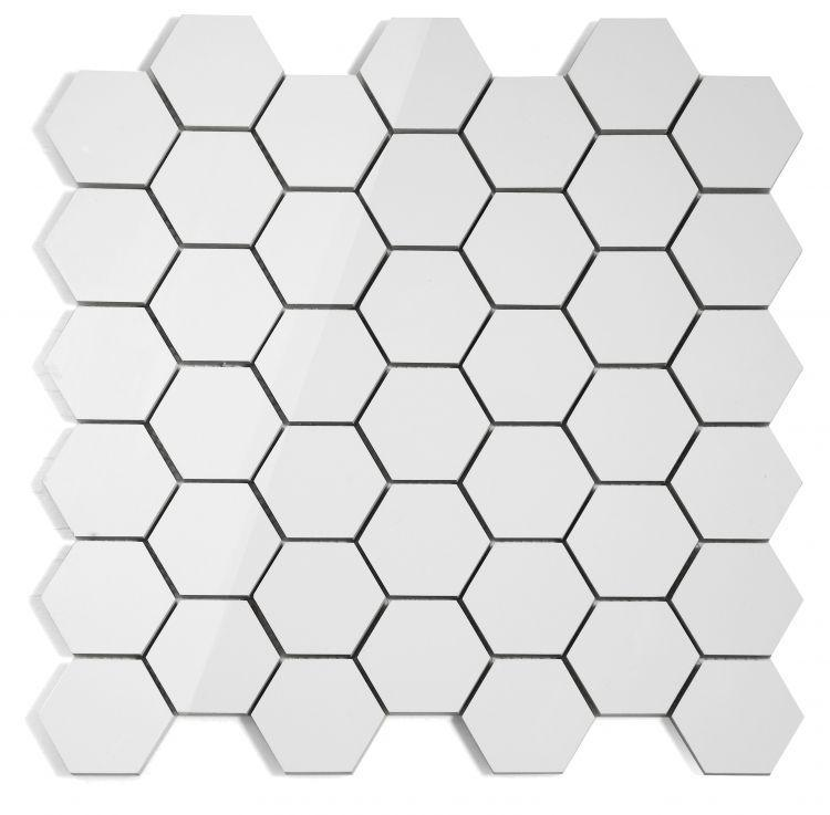 White Tile Royal 2x2 Hexagon Polished Porcelain  Mosaic