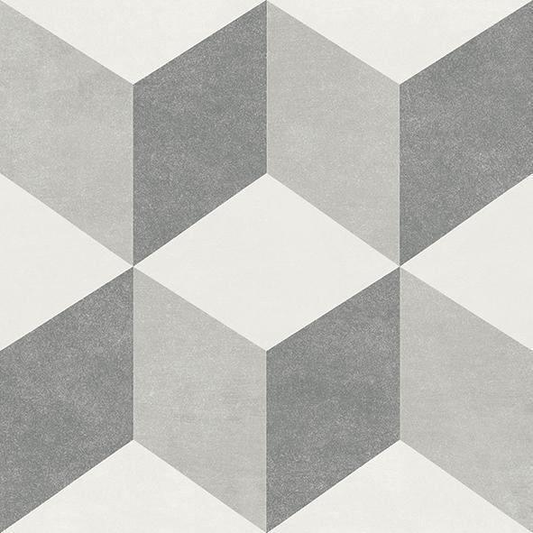 Fiore Brina 6x6, Glazed, Gray, White, Square, Porcelain, Tile