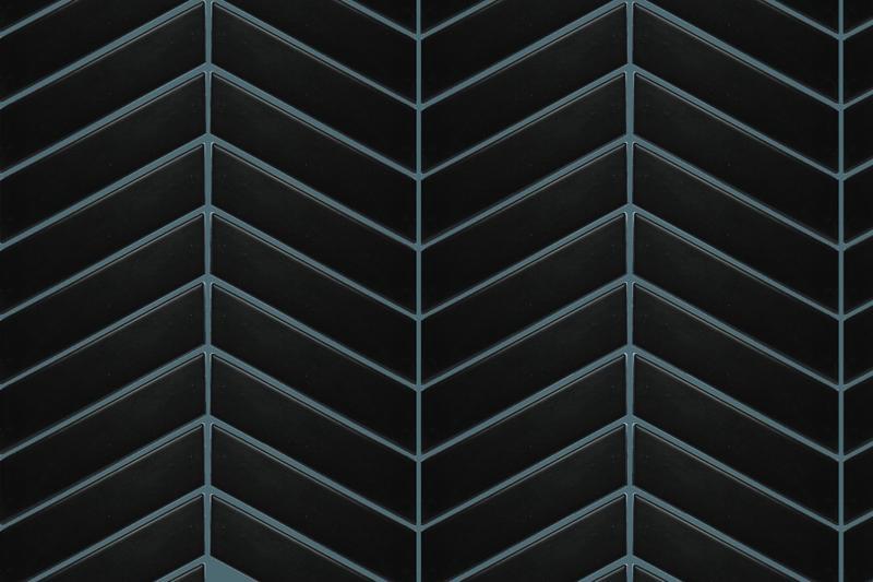 Shapes Mosaic Black Chevron Matte, Glazed Porcelain