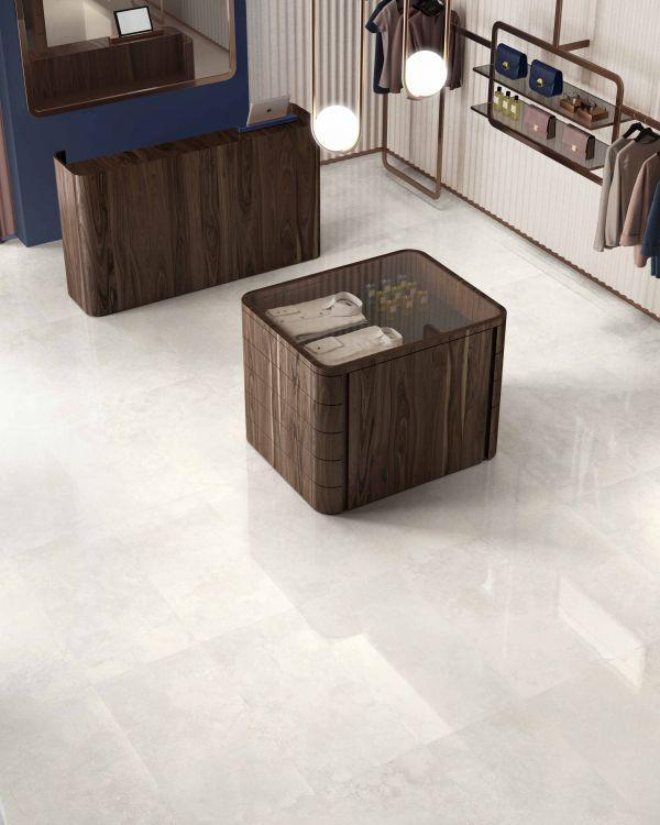 Appia White Polished, Glazed 24x48 Porcelain  Tile