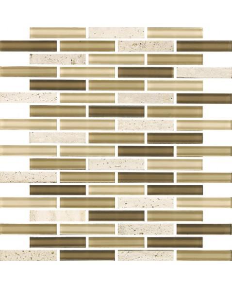 Newport Oscuro 1x4 Brick Polished Glass  Mosaic (Discontinued)