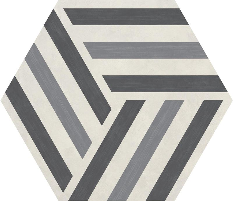 Bee Hive Run Up Cool Blend 20x24, Unpolished, Gray, Hexagon, Color-Body-Porcelain, Tile