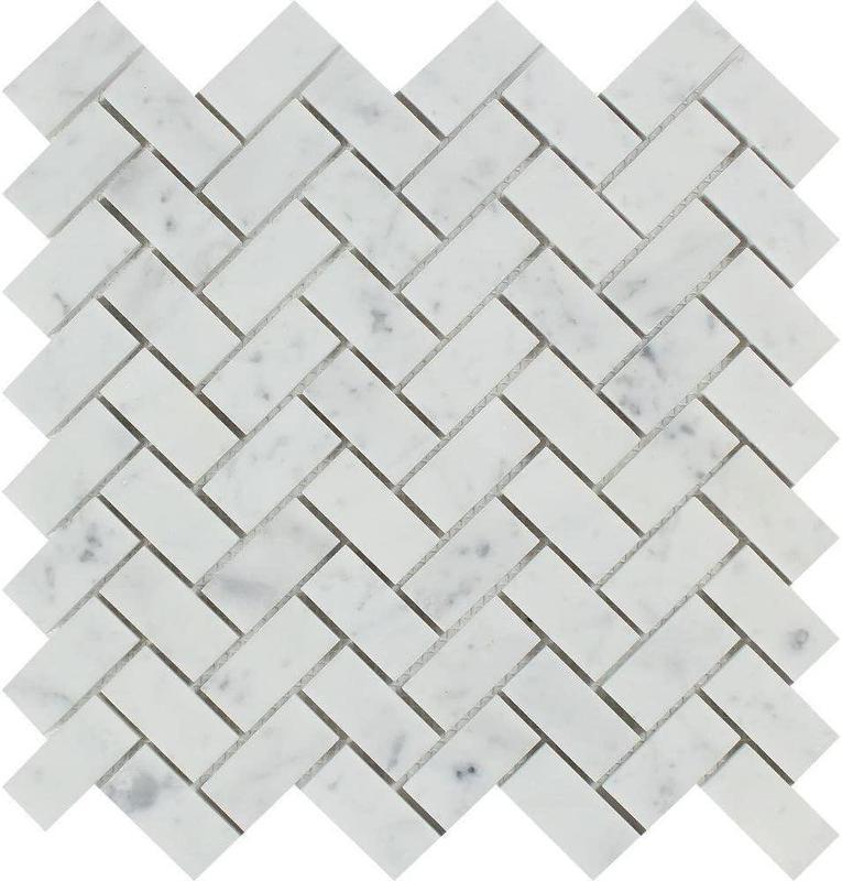 Carrara White 1x2 Herringbone Polished Marble  Mosaic