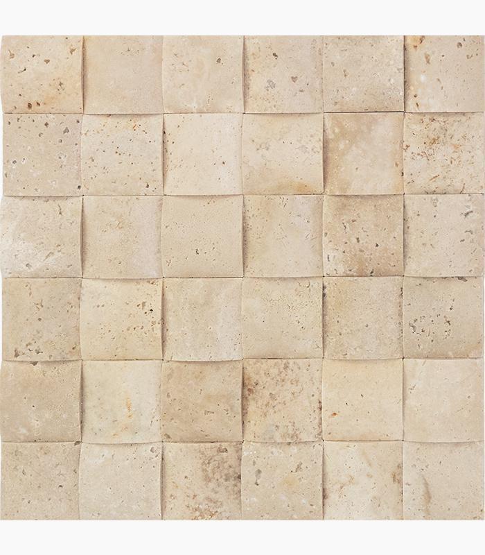 Ivory Premium 2x2 Wavy Honed Travertine  Mosaic