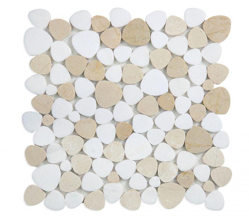 Aphrodite Marfil Pebble Polished Marble  Mosaic