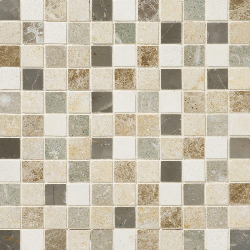 Chara 1x1 Square Honed Limestone  Mosaic