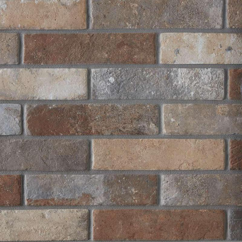 Castle Brick Multi 2.5x10, Glazed, Porcelain, Tile
