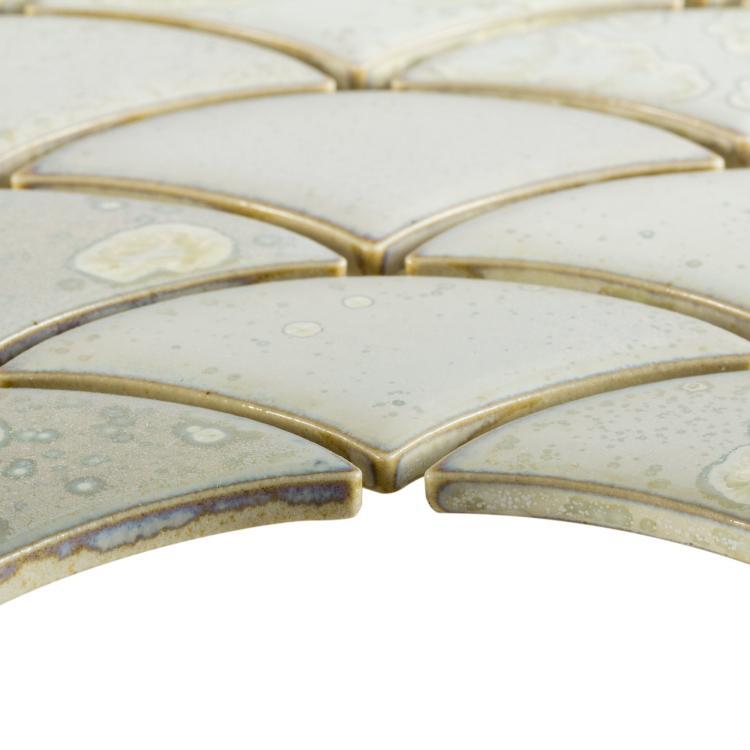 Dragon Scale White Porcelain  Mosaic