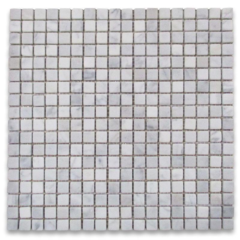 Carrara White 5/8x5/8 Square Tumbled Marble  Mosaic
