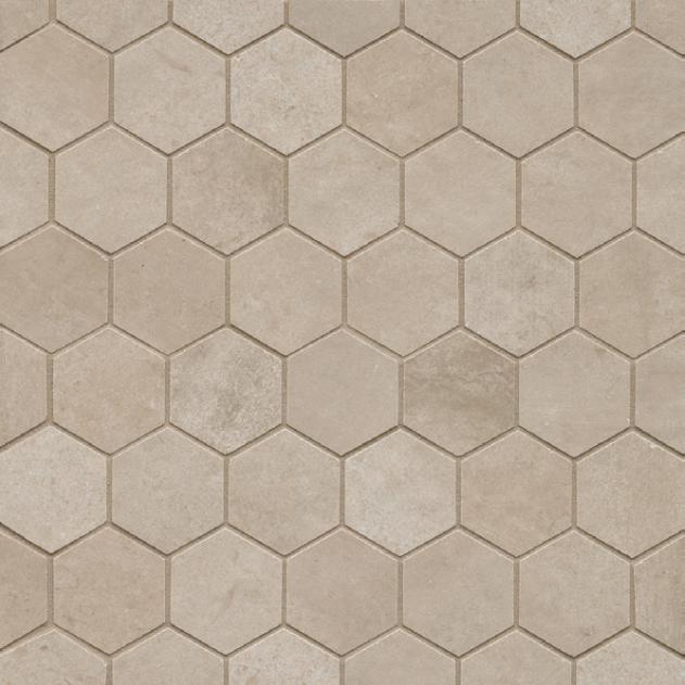 Clive Beige 2x2 Hexagon Matte Porcelain  Mosaic (Discontinued)