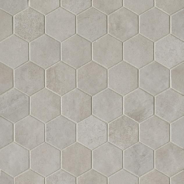 Clive Silver 2x2 Hexagon Matte Porcelain  Mosaic (Discontinued)