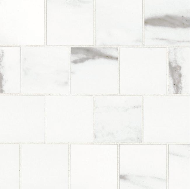 Bianco Pietra White Stone Off Set Mosaic 3x3 Square Matte Porcelain   (Discontinued)