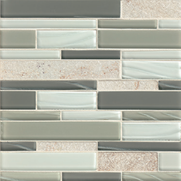 Elume Heather Grey Linear Glossy Glass  Mosaic (Discontinued)