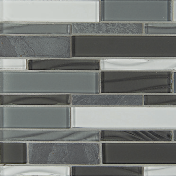 Elume Organic Pewter Linear Glossy Glass  Mosaic (Discontinued)