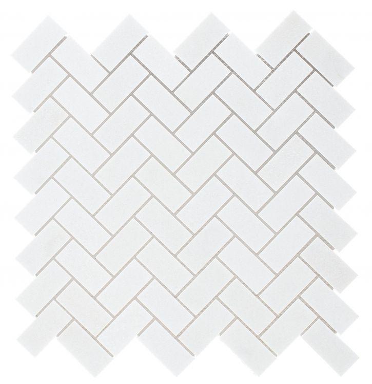 Chevron Herringbone Thassos Honed Marble  Mosaic