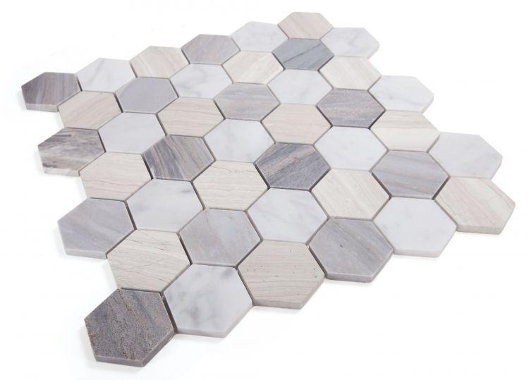 Hexagon Blue 2x2  Polished Marble  Mosaic